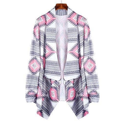 OverDose Escudo mujeres geométrico Impreso de manga larga de algodón kimono Cardigan Cubrir Tops Rosado