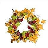 """22"""" Autumn Harvest Maple Leaf Artificial Thanksgiving Floral Wreath – Unlit"""