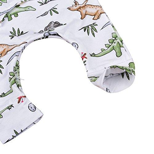 Newborn Infant Baby Boys Sleeveless Dinosaur Bodysuit Romper White Outfits Clothes