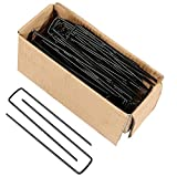 Sunnydaze 50 Pack Galvanized Garden Landscape Staples, Fabric and Sod Fence Stakes, 6 Inch - For Outdoor Gardening, Yard, and Lawn