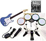 PS3 Rock Band BEATLES Game Set BLUE Wireless Guitar Drums Mic Playstation 3