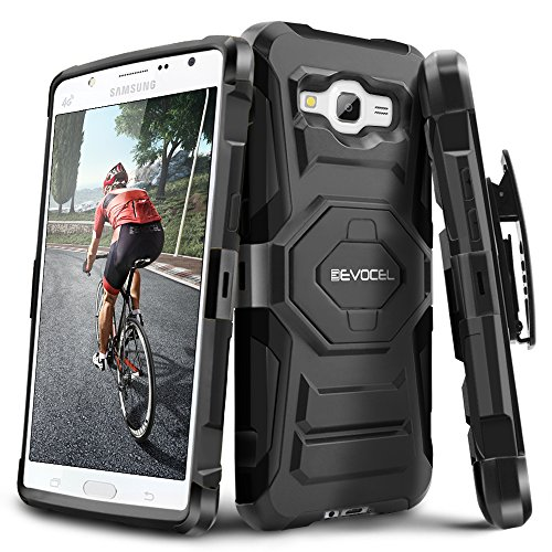 Galaxy J7 (2015) Case, Evocel [New Generation Series] Belt Clip Holster, Kickstand, Dual Layer for Samsung Galaxy J7 (Model No J700), Black (EVO-SAMJ7-XX01)