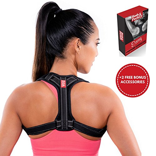 Posture Corrector for Women & Men with Bonus Armpit Pads and Exercise Resistance Band | Stops Slouching & Hunching and Reduces Back & Neck Pain | Back Brace Discreet & Adjustable to Improve Posture