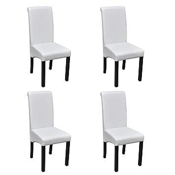 vidaXL 4X Sillas de Salón Comedor de Cuero Artifical Blancas y Patas de Madera