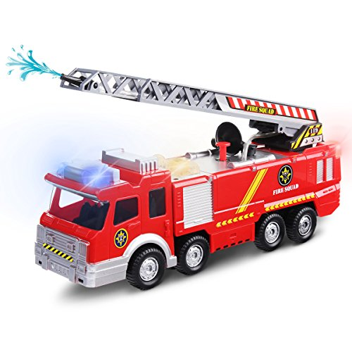 Price comparison product image Electric Fire Truck Toy, FUNTOK Engine Rescue Vehicle With Lights Sirens Extending Ladder and Water Pump Hose to Shoot Water Bump and Go Action