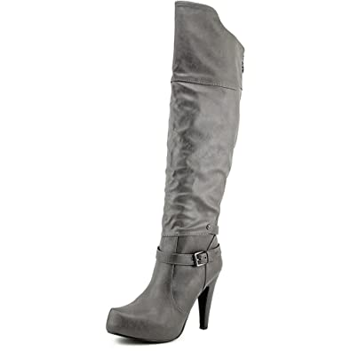 d254164c21 Amazon.com   GUESS Womens Trinna Closed Toe Knee High Fashion Boots, Gray,  Size 6.0   Shoes