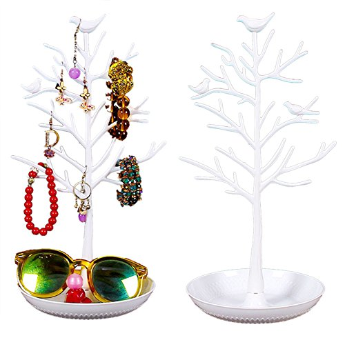 Jewelry Organizer, Bracelet Necklace Earrings and Accessories Hanging Display Tree Rack Ring Nail polish Lipstick Tray Holder Tower for Home Use or Jewelry Store Displays (White)
