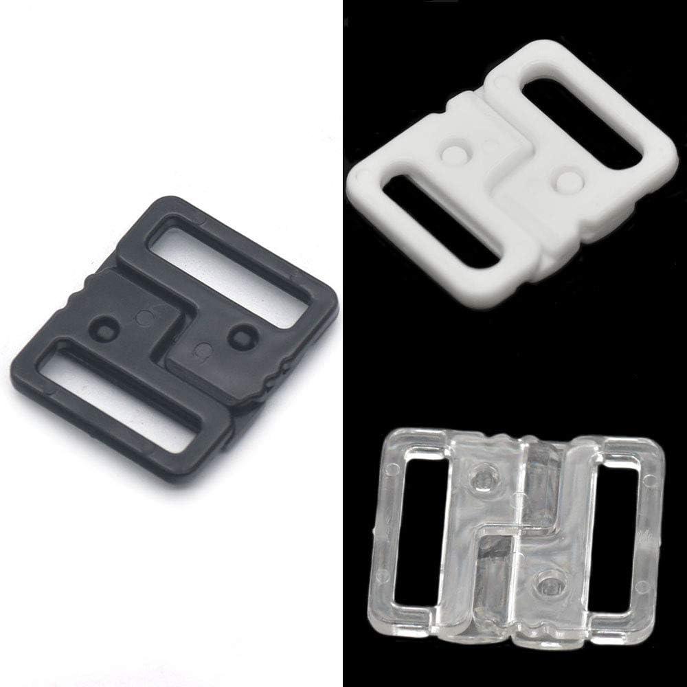 10 pares sujetador clip plástico bikini moda hebilla de cinturón cierre negro