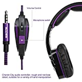 New Xbox one PS4 Gaming Headset with Mic Volume Control, SADES SA930 Stereo Headphone for PC Laptop Mac Tablet Smartphone by AFUNTA-Black/Purple
