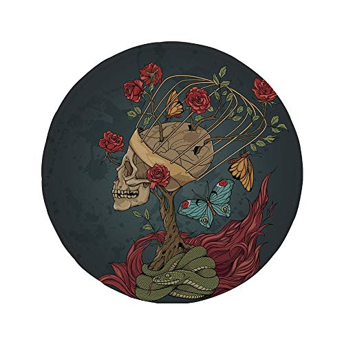 Non-Slip Rubber Round Mouse Pad,Skull,Evil Mexican Sugar Skeleton with Kitsch Bush of Roses Snake and Butterfly Artwork,Ruby Dark Grey,11.8