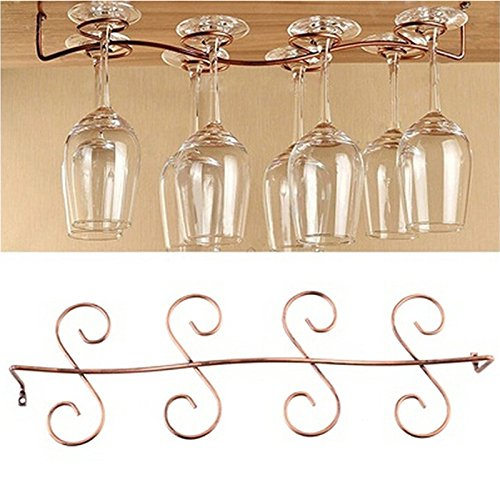 Buytra Under Cabinet Wine Glass Rack Stemware Holder for Home Bar, Bronze ¡­