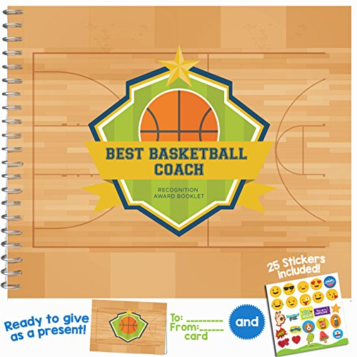 Basketball Gifts - Recognition Award Booklet for being The Best Basketball Coach - Includes Certificate, Quotes, Frames, Stickers and a Card - Gift Ideas for Players, Sports Fans, and Coaches