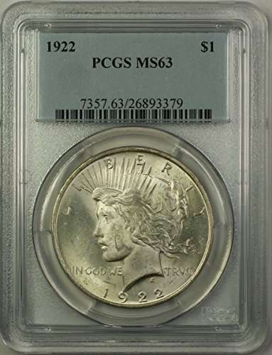 1922 Peace Silver Dollar Coin (ABR11-P) $1 MS-63 PCGS