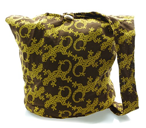 Messenger Sling Bag Bohemian Hobo Cotton Crossbody brown Avarada yellow Medium Purse Gecko Hippie fOYwTq