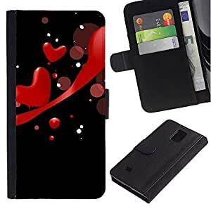 All Phone Most Case / Oferta Especial Cáscara Funda de cuero Monedero Cubierta de proteccion Caso / Wallet Case for Samsung Galaxy Note 4 IV // Love Red Hearts
