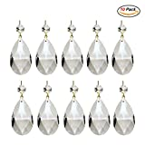 Adecco LLC 10Pcs Clear Crystal Teardrop Chandelier Prism Pendants Shiny Glass Crystals Beads for Light Lamp, Jewelry Making.