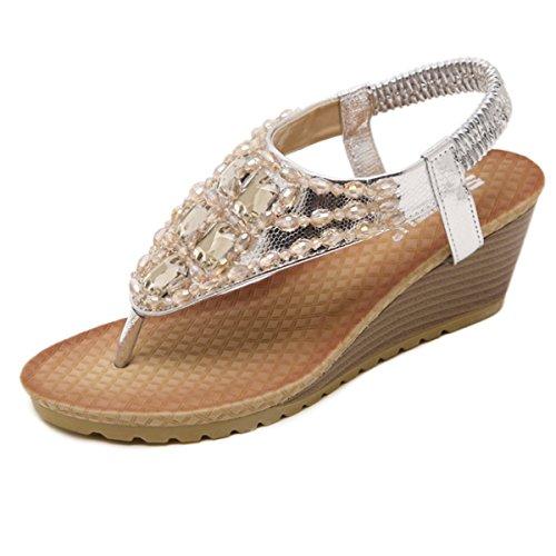 Femme Fanessy Tong Toe de Style Casuel Perlés Compensés Talon Peep en Plage Mode Strass Romaine d'été Décontractés Haut Argent pour Plates Sandales Bohème daqnwaRrxt