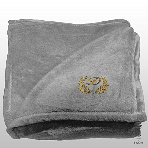 BgEurope Personalized Multi-USE Polar Sofa Bed Travel Fleece Blanket with Leaves - REF. DULCELINA - Grey