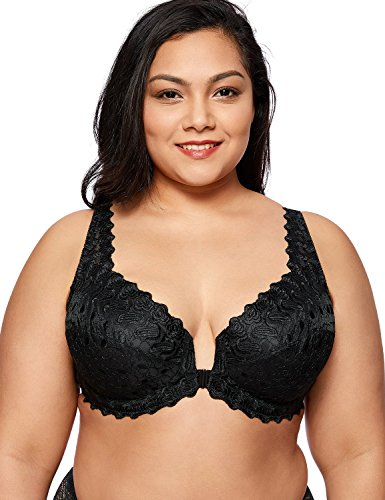 DELIMIRA Women's Plus Size Support Unlined Embroidered Lace Front Close Underwired Bra Black 48E