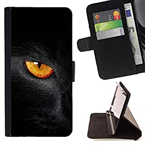 DEVIL CASE - FOR Samsung Galaxy S3 III I9300 - Black Cat Fire Eye - Style PU Leather Case Wallet Flip Stand Flap Closure Cover