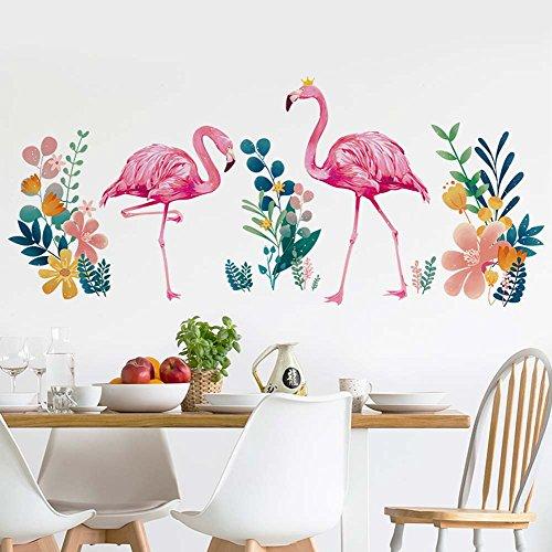 iwallsticker Flamingo Wall Decals Peel and Stick Removable Wall Stickers for Living Room Bedroom Kids' Room Door Windows