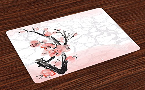 Lunarable Floral Place Mats Set of 4, Japanese Cherry Blossom Sakura Tree Branch Soft Pastel Watercolor Print, Washable Fabric Placemats for Dining Room Kitchen Table Decoration, Coral Pale Pink Grey by Lunarable