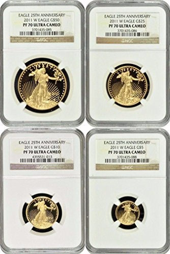 2011 2011 W Gold Proof Set $50 25 10 5 American Eagle PR 70