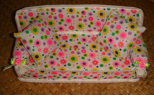 Soft Flower Sofa with Pillows for Barbie Dolls
