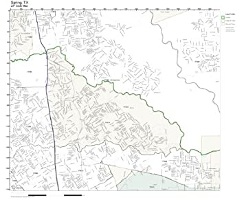 Amazoncom ZIP Code Wall Map of Spring TX ZIP Code Map Not