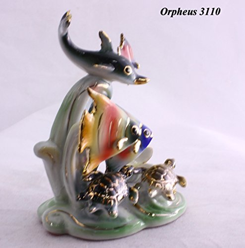 (Feng Shui Ocean with Dolphin and Fishes - Hand Crafted and Decorated Fine Chinese Porcelain, Figurine 209501)