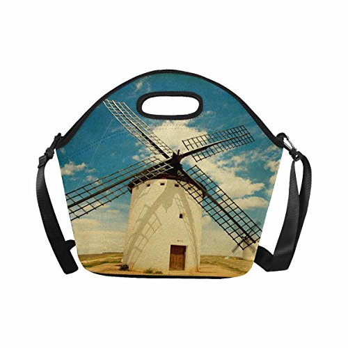 InterestPrint Retro Medieval Windmills in Castilla La Mancha Spain Lunch Bag Tote Handbag Lunchbox Large Insulated Neoprene Gourmet Tote Cooler Warm Pouch with Shoulder Strap by InterestPrint