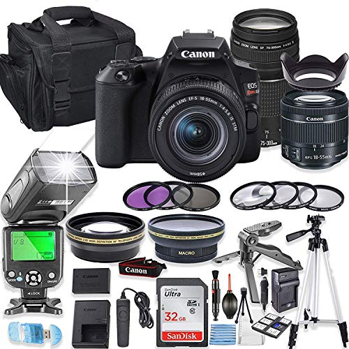 Canon EOS Rebel SL3 DSLR Camera Bundle with Canon EF-S 18-55mm STM Lens & EF 75-300mm III Lens + 32GB Sandisk Memory + Camera Case + TTL Flash + Accessory Bundle