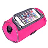 Yazer Durable Cycling Bicycle Bike Front Handlebar Bag with Transparent Pouch with iPhone Case for Map,Outdoor Activities,Riding (Pink)