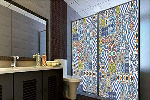 Horrisophie dodo 3D Privacy Window Film No Glue,Moroccan,Moroccan Classic Mosaic Tile Inspired Patchwork Style Pattern Artwork Print,Blue Mustard,70.86