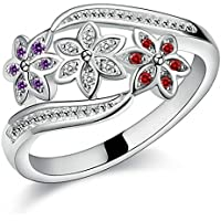 Amesii Women's Cute Flowers Silver Ring Charm Zircon Inlaid Party Jewelry