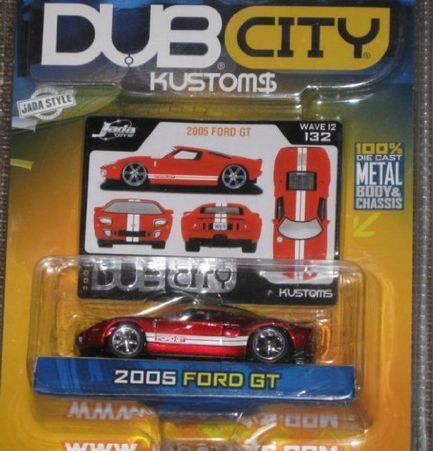 Jada Dub City Kustoms 1:64 2005 FORD GT Red with Double White Stripes by Jada