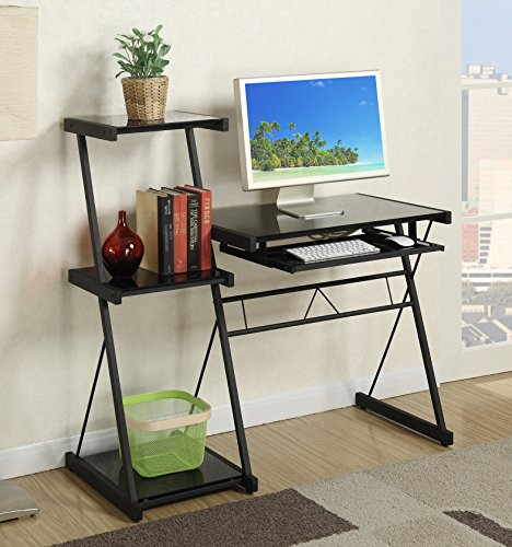 Major-Q Modern Home Office Black Glass Top Writing Desk and Shelf with Keyboard tray (PXF3116)