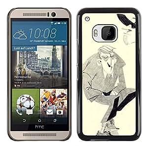 Shell-Star Arte & diseño plástico duro Fundas Cover Cubre Hard Case Cover para HTC One M9 ( Man Moustache Hitler Art Drawing Pencil )