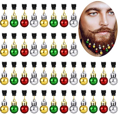 Gejoy 36 Pieces Christmas Beard Bells Colorful Beard Decorations Facial Ornaments Hair Baubles, 4 Colors ()