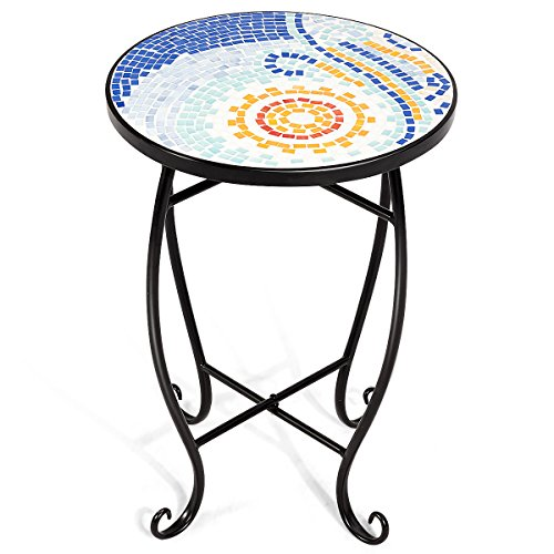 Giantex Mosaic Round Side Accent Table Patio Plant Stand Porch Beach Theme Balcony Back Deck Pool Decor Metal Cobalt Glass Top Indoor Outdoor Coffee End Table Blue Hawaii
