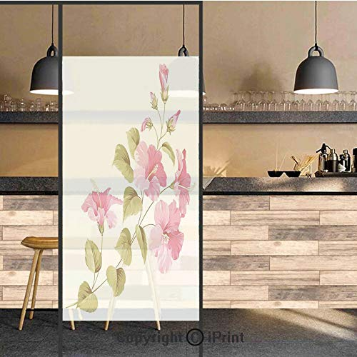 3D Decorative Privacy Window Films,Tropic Wild Hibiscus Flower Branch with Fresh Leaves Exotic Flora Concept,No-Glue Self Static Cling Glass Film for Home Bedroom Bathroom Kitchen Office 24x71 Inch ()