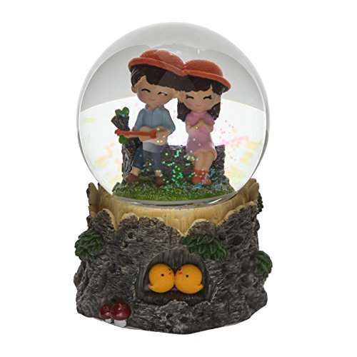 Boys to Hit The Guitar and Girls Couple Music Box Snow Globes with LED Night Light Classic and Memory Remind ()