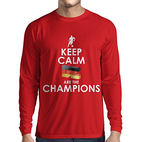 fan products of lepni.me N4464L Long Sleeve t Shirt Men Keep Calm, Germans Are The Champions (X-Large Red Multi Color)