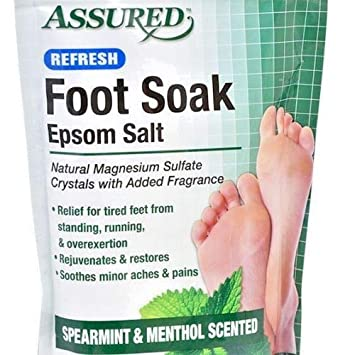 Assured Refresh Foot Soak Epsom Salt spearmint and menthol scented 16 ounce