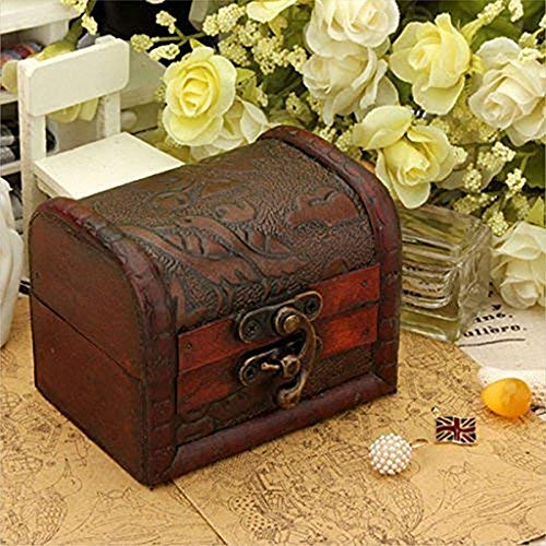 (️ Yu2d ❤️❤️ ️Decorative Trinket Jewelry Storage Box Handmade Vintage Wooden Treasure Case)