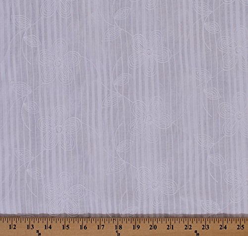 Embroidered Cotton Lawn Batiste Shadow Stripe Heirloom White Floral Flowers Flower Blossom Bloom Spring Summer Cotton Fabric by The Yard (2509P-5M) (White Cotton Lawn Fabric By The Yard)