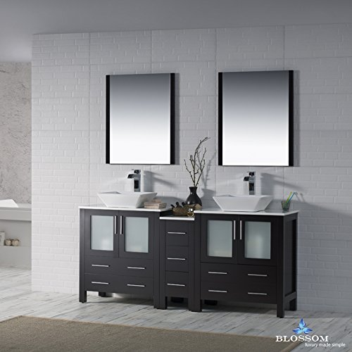 BLOSSOM 001-72-02-D-1616V Sydney 72'' Double Vanity Set with Vessel Sinks and Mirrors Espresso by Blossom