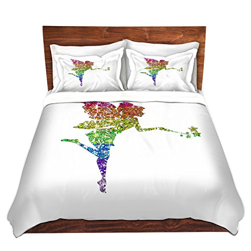 DiaNoche Designs Fairy Dance Rainbow White Home Decor Cover, 7 Queen Duvet Sham Set by DiaNoche Designs