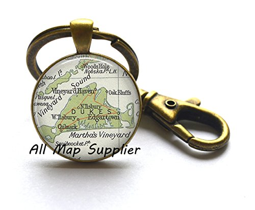 Charming Keychain,Martha' Vineyard vintage map Key Ring, map jewelry resin Key Ring, map Keychain photo Key (Halloween Martha's Vineyard)