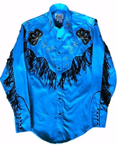 Rockmount Men's Vintage Western Embroidered Fringe Snap Shirt, Turquoise, XXL (Cowboy Outfits For Mens)